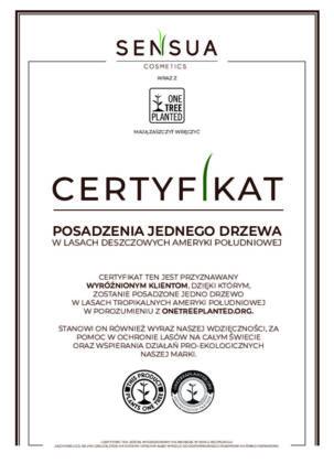 certyfikat posadzenia drzewa marki Sensua